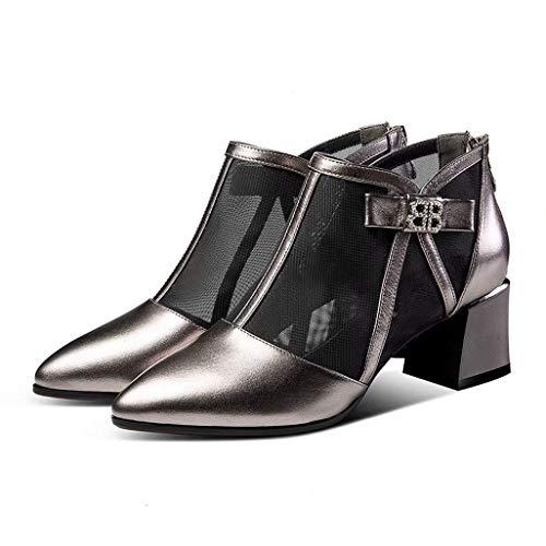 KISlink Pistole Farbe Bogen Strass net Stiefel Sandalen Spitzen hohlen mesh Starke Ferse Sommer Mode weibliche helle Lackleder high Heel einzigen Schuh (Strass Pistole)