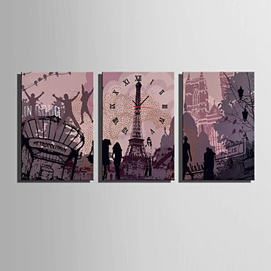 Y & M rectangulaire moderne/contemporain Horloge murale, Autres tela35 x 50 cm (14inchx20inch) x3pcs/40 x 60 cm (16inchx24inch) x3pcs/50 x 24\