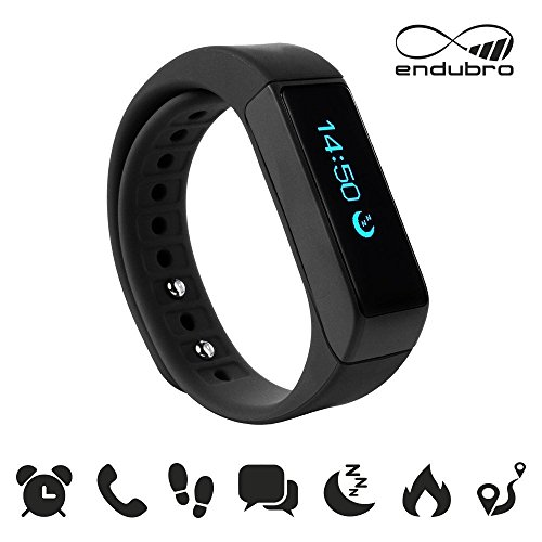 Image of endubro i5 plus Fitness Armband - fitness tracker - smart bracelet - Smartwatch für Android Smartphone und iPhone, Schrittzähler, Push-Message und Anrufer - ID Benachrichtigung (Schwarz)