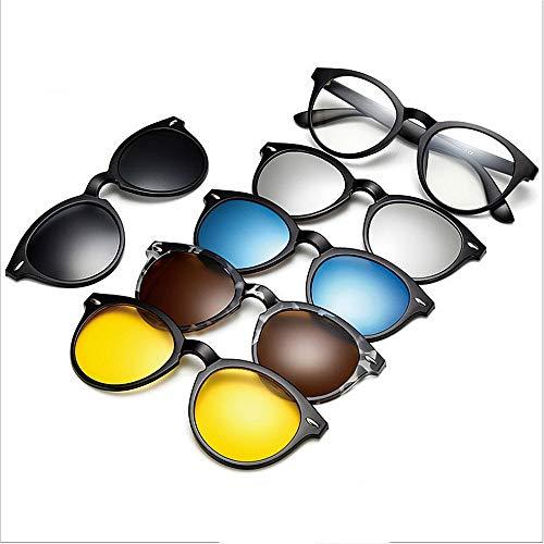 Y-WEIFENG Runde Retro-Stil Sonnenbrille mit 5-teiligen austauschbaren Gläsern für Männer Frauen unzerbrechlich TR90 Rahmen Clip-on UV-Schutz Sonnenbrille mit Magnetic Brille