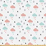 ABAKUHAUS Pastell Stoff als Meterware, Wolken Regentropfen