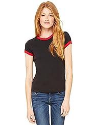 T-shirt Bella tricot à côtes bords contrastés manche courte col ras du cou femme