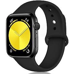Lerobo Sport Bracelet Compatible avec Apple Watch 42mm 38mm 44mm 40mm, Silicone Souple de Remplacement Classique Bracelet pour iWatch Series 4, Series 3, Series 2, Series 1, 38mm/40mm S/M Noir