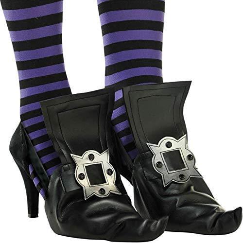 Kostüm Spitzen Hexe - Fancy Me Frauen Schwarz Silber Spitze Spitze Hexe Überschuhe Halloween Kostüm Outfit Zubehör