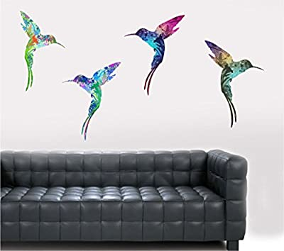 Colourful Flying Hummingbirds - Wall Art Vinyl Printed Stickers - cheap UK light store.