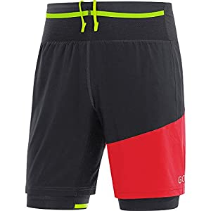 GORE Wear Atmungsaktive, kurze 2in1 Herren Laufhose, R7 2in1 Shorts, Schwarz, 100096