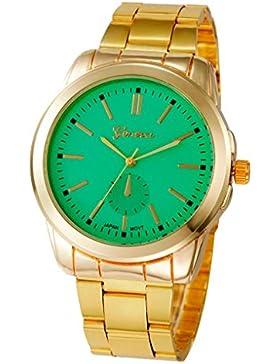 Xjp Casual Women Wrist Watch Stainless Steel Analog Quartz Watches Bracele with Mint Green Dial - Golden