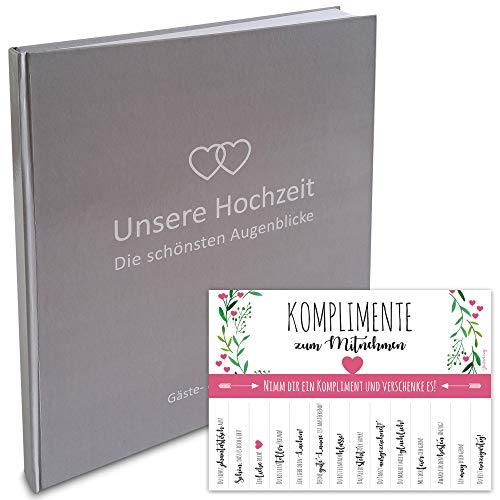 LionSports Premium Gästebuch zur Hochzeit mit Herzen 24 x 22 cm - 160 weiße Seiten für Wünsche und als Fotoalbum - Perfektes Hochzeitsalbum um stilvoll zu Heiraten