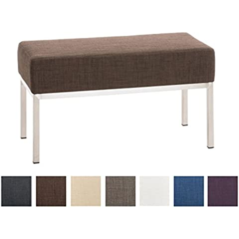 CLP Banco de 2 plazas de tela LAMEGA, acolchado grueso de 15 cm, soporte en acero inoxidable cepillado, varios colores para elegir marrón