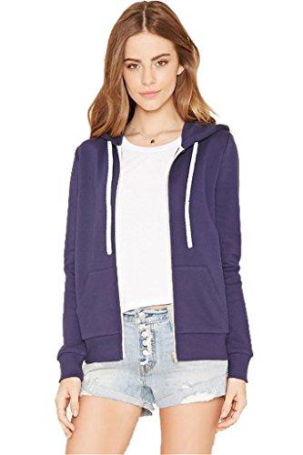 Felpa con cappuccio da donna, in tinta unita, con zip, taglie comode, taglie da S a 8XL Purple