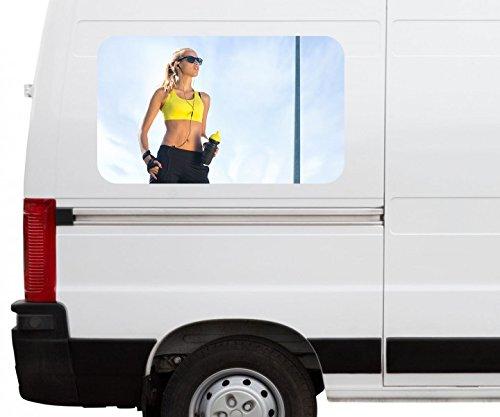 Autoaufkleber Sport Frau Fittness Inline-Skates Inlineskaten Car Wohnmobil Auto tuning Digital Druck Fenster Sticker LKW Bild Aufkleber 21B639, Größe 3D sticker:ca. 161cmx 96cm