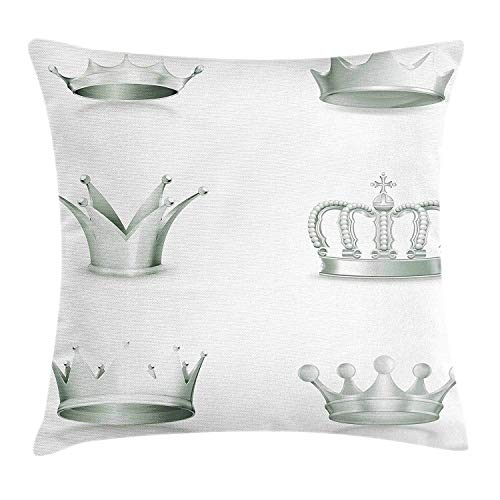 Grey Throw Pillow Cushion Cover, Different Kinds of Antique Crowns Queen King Imperial Theme Vintage Symbol, Decorative Square Accent Pillow Case, 18 X 18 inches, Pale Green and ()