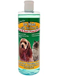 NaturVet Ear Canal Wash Tea Tree Oil Aloe Baby Powder Scent for Dogs Cats 16z