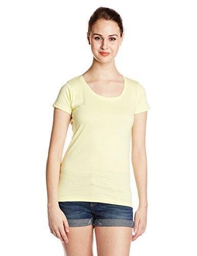 Miss Chase Women's Basic T-shirt (MCS14TS01-04-29_Yellow_Large)
