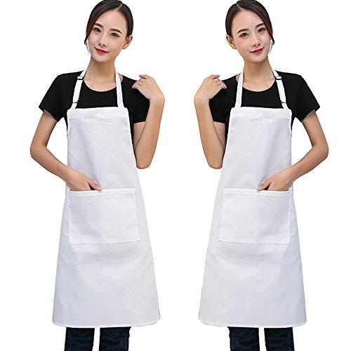SERWOO 2 Piezas Delantales Blanco Cocina Chef Ajustables Cocinero con Bolsillo para Mujeres Hombres Unisexo