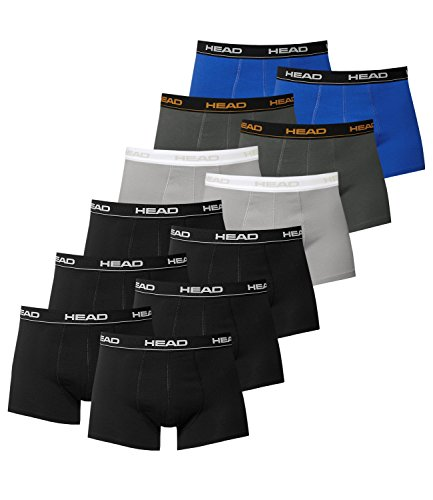 HEAD Herren Boxershorts 841001001 12er Pack 6x Schwarz / 2x Grey / 2x Dark Shadow / 2x Blue/Black
