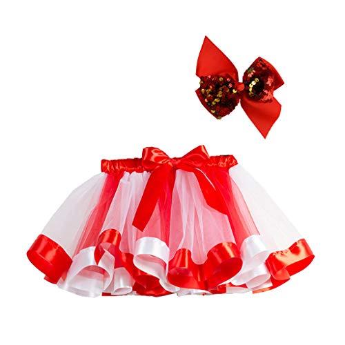 TEBAISE Tüllrock Kinder Mädchen Karnevalskostüme Weihnachten Thema Party Cosplay Kostüm Haarreif und Tutu Rock Unterrock Tiered Mesh Tütü Pettirock Bowknot Prinzessin Ballettrock für Geburtstagsfeier
