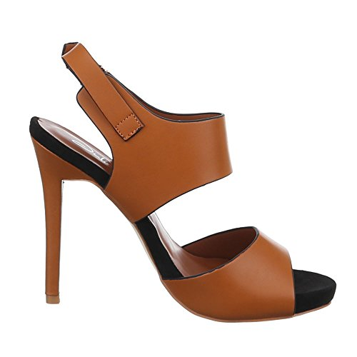 Damen Schuhe, F60, SANDALETTEN HIGH HEELS PUMPS Camel