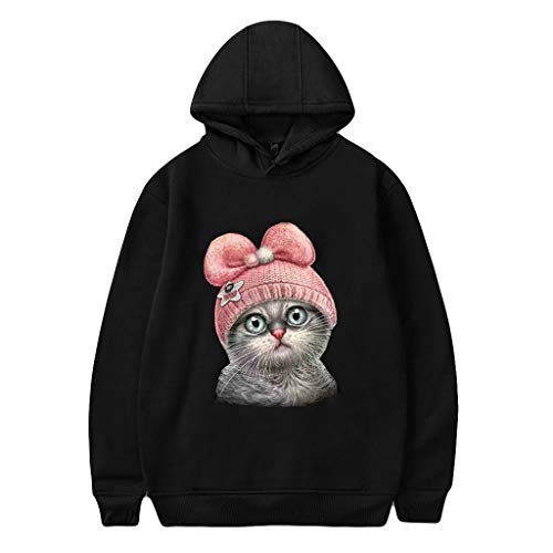 CommittedeDamen Herbst und Winter 3D Katzendruck Sweatshirt Einfarbiger Langarmpullover Kurzsatz Langarm-T-Shirt mit Kapuze Pullover Lässiger Sport Sweatshirt -