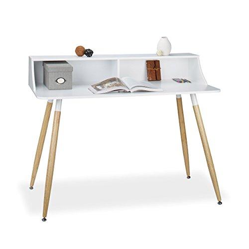Weiß Holz Breite Beistelltisch (Relaxdays Schreibtisch weiß ARVID, Holz, 2 Fächer, Ablage, HxBxT: 93 x 120 x 60 cm, Beine natur, Gummi Untersetzer, white)