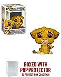 FunkoPOP The Lion King: Simba w/ Slug - Vinyl Figure 496 + Bundled w/ Pop Box Protector Case