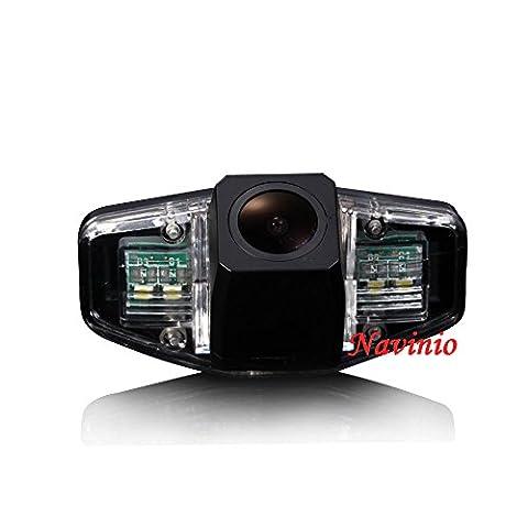 dynavsal voiture HD CCD caméra de recul 170degrés grand angle avec capteur radar aide au stationnement Vehicle de Specific Camera Integrated en Number Plate Light (Noir) NTSC, rückfahrc de recul universel pour Accord CIVIC Odyssey Pilot Acura TSX