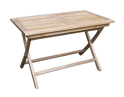 PEGANE Table Pliante pour Jardin en Bois Teck, Coloris Naturel - Dim : 75 x 120 x 70 cm