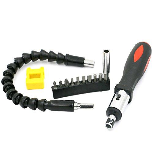 Flexibler Schraubendreher, magnetischer Ratschenschraubendreher mit Griff, Schraubendreher-Extender, flexibler Magnetbohrer