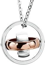 AnaZoz Joyería de Moda Collar Colgante de Hombre Acero Inoxidable Tres Círculos Collar Colgante Para Hombre