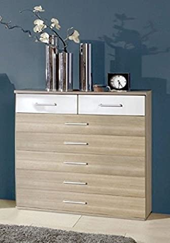 Germanica™ BREMEN Matching Chest Of Drawers In a Choice of 3 Colours and 3 Sizes (Washed Oak & White 7 Drawer Chest)