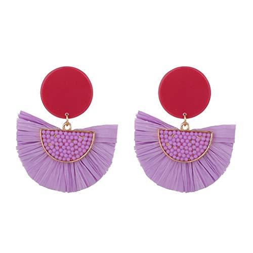 ld Set Creolen hängende Ohrringe Für Damen Bohemian Knit Sour Cream Bast eingelegten Reis Perlen Ohrringe Damen Schmuck (Lila) ()