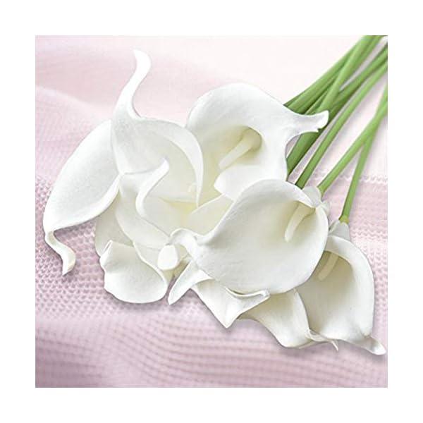 TOPFAY 12 PCS Seda Artificial Flor de Lirio de Cala Ramo de Novia Decoración de la Boda Decoración romántica de la casa…