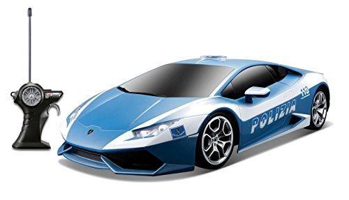 "Maisto Tech R/C Lamborghini Huracán LP 610-4 \""Polizei\"": Ferngesteuertes Auto 1:24, Ausführung als Polizeiauto, ab 8 Jahren, 19 cm, blau-weiß (581159)"