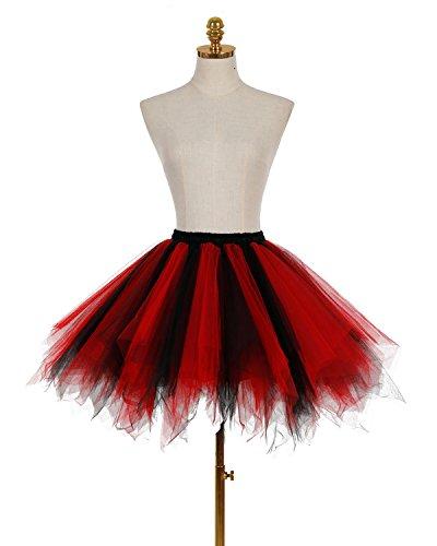 Dresstells Damen Tutu Unterkleid Kurz Ballett Tanzkleid Ballklei Abendkleid Gelegenheit Zubehör Black-Red