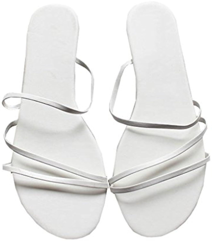 YAnFAn & Sandalias Sandalia De Slip-On Gladiador para Mujer con Estilo Zapatillas De Talón Plano Romano En Verano...