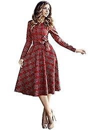 Creine Vestito Donna Elegante a Quadri Anni 1950 Vintage Manica Lunga  Cocktail Gonna Vita Alta Cerimonia da Partito… 1c5e3c49dba
