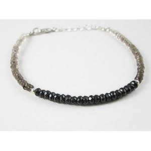 Anushruti Smoky Quarz & Schwarz Spinell Perlen Armband mit 925 Silber Findings 6.50