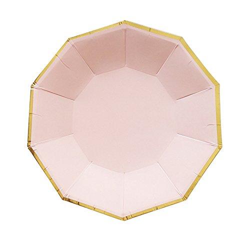 , Papier Trinkhalme, Servietten , Pappbecher - Einweg Geschirr mit Polka Dots für Geburtstag Weihnachten Hochzeit Event Party (B: 8 x 9 inch plate) ()