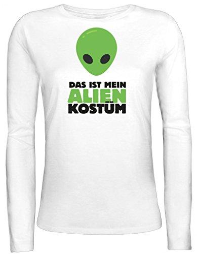 Girly Kostüm Alien - Fasching Karneval Damen Longsleeve Langarm T-Shirt mit Das ist Mein Alien Kostüm 2 Motiv, Größe: S,Weiß