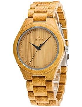 Redear Quarzuhr Bunte Bambus Holzuhr Japan Bewegung Leben wasserdicht Armbanduhren
