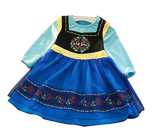 LCXYYY Mädchen Baby Prinzessin Kleid Kostüm Alice Anna ELSA Sofia Langarm Tüll Karneval Verkleidung Party Kleid Cosplay Faschingskostüm Festkleid Weinachten Halloween Festlich Kostüme (Höhe 75-122) (Elsa Kostüm Baby)