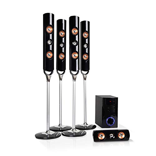 auna Areal Nobility 5.1-Kanal-Surround-System • Heimkinosystem • 5.1-Anlage • 120 W RMS • 35 W Subwoofer • Satellitenlautsprecher • Bluetooth 3.0 • USB-Port • SD-Slot • AUX-In • LED-Display • schwarz