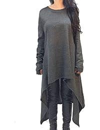 ZANZEA Femme Plain Manches Longues Tunique Pull-over Jumper Blouse Asymmetric Longue Robe