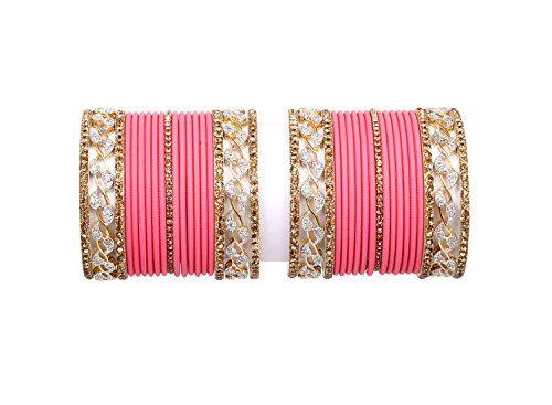 Sanara gold Pink color Zircon made Plain Alloy bangle set for women Wedding & party wear jewelry (2.4)
