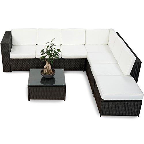 XINRO 19tlg XXXL Polyrattan Gartenmöbel Lounge Sofa günstig - Lounge Möbel Lounge Set Polyrattan Rattan Garnitur Sitzgruppe - In/Outdoor - handgeflochten - mit Kissen - schwarz (Wohnzimmer-sofa-möbel-sets)