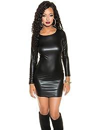 koucla Neck Holder wetlook Mini vestido–Aspecto De Piel Mini Dress espalda descubierta Negro Burdeos One Size