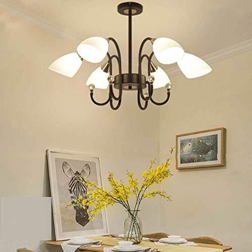 Kronleuchter Mit Lichtquelle Nordic Minimalistischen Wohnzimmer Führte Licht Esszimmer Schlafzimmer Schmiedeeisernen Lampen(B,6 lights (29.52 * 17.71))