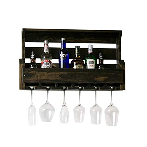 LOFAMI Küche, Haushalt & Wohnen Weinregale Kreative Retro Einfache Wand Weinregale Flasche Glas Racks Hohl Massivholz Wandbehang Getränkehalter Weinregal Regal Halter & Ständer Weinregale - Stapelbare Glas-wand-regal