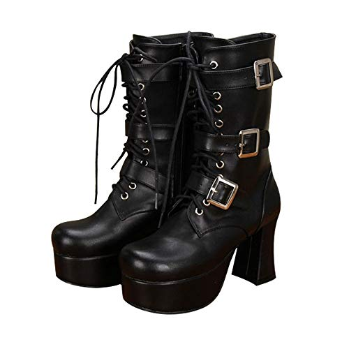PINGXIANNV Lolita Damenschuhe Dunkle Serie Schuhe Gürtel Dekoration Dicke Ferse Spitze In Den Stiefeln,34 -