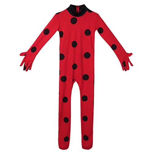 CHICTRY Déguisement miraculeux ladybg Costume Carnaval Halloween Enfant Fille Combinaison Romper Coccinelle Bodysuit Rouge A Pois Body et Yeux Masque Sac Set Cosplay 5-12 Ans Rouge 7-8 Ans